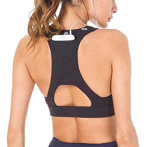 Vertvie Damen Sport BH Bustier Gepolstert Push Up Sports Bra mit Starker Halt Ohne Bügel Unterstützung Riemchen für Fitness Lauf Yoga(XL für 80A 80B 80C, Schwarz)