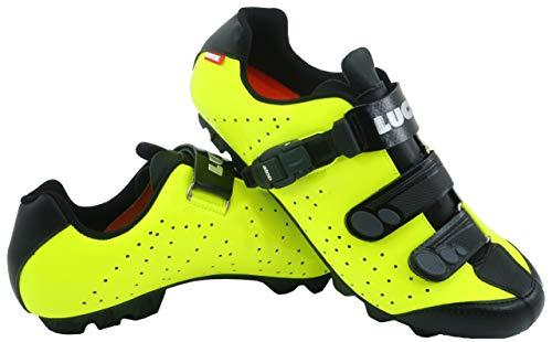 LUCK Zapatillas de Ciclismo MTB ODÍN con Suela de Carbono y Cierre milimétrico de precisión. (44 EU, Amarillo)
