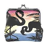 BGHYT Tropical Paradise Summer Flamingo Coin Monedero Retro Money Pouch con Cerradura Hebilla Monedero Bolso Titular de la Tarjeta para Mujeres y niñas