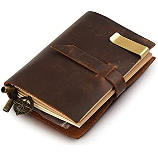 """7Felicity® Classic Genuine Leather Notebook - 5.3"""" × 4"""" Refillable Pages Leather Journal - 100% handmade & Personalized - Vintage Diary - Daily Use & Traveler's Notebook - Retro Journal Bound Notebook(Style# 12S) (Brown)"""