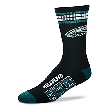 NFL 4 Stripe Deuce Crew Socks Mens-Philadelphia Eagles-Size Large(10-13)