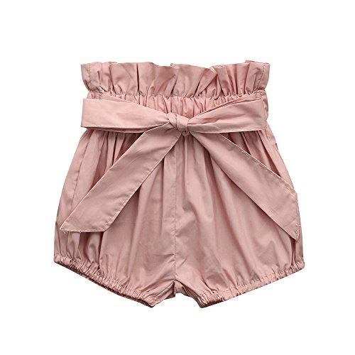 Pantalones Bebés, LANSKIRT Ropa Bebés Niñas Color Sólido Imprimiendo Cuadros Arco Pantalones Cortos de Polainas