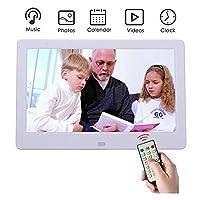 デジタルフォトフレーム10インチHDデジタルフォトフレームUSB / SDカードスロットとリモートコントロールデジタル画像付き16:9ワイドスクリーンLEDスクリーン,White