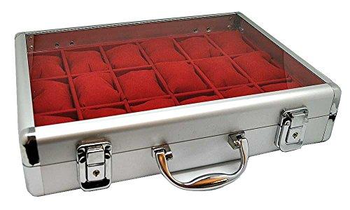 Alu Uhrenkoffer für 18 Uhren Uhrenbox Schaukasten Uhrenkasten ROT 4736