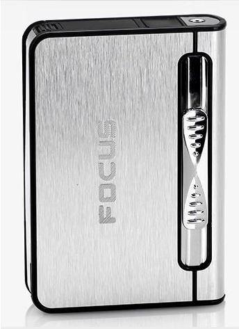 FOCUS Distributeur boite boitier étui 10 cigarettes avec briquet tempête Argent