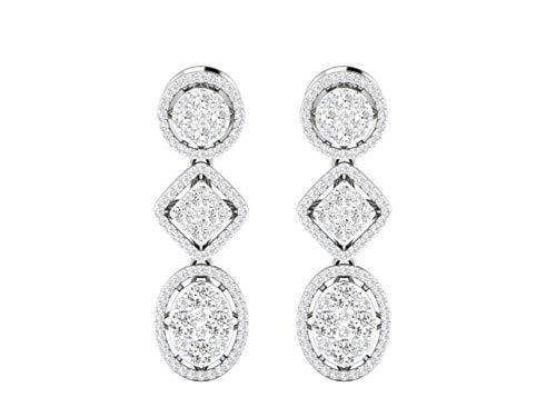 VVS 2.92 Ctw diamante natural con 18K blanco/amarillo/oro rosa pendientes de gota para las mujeres con certificado IGI