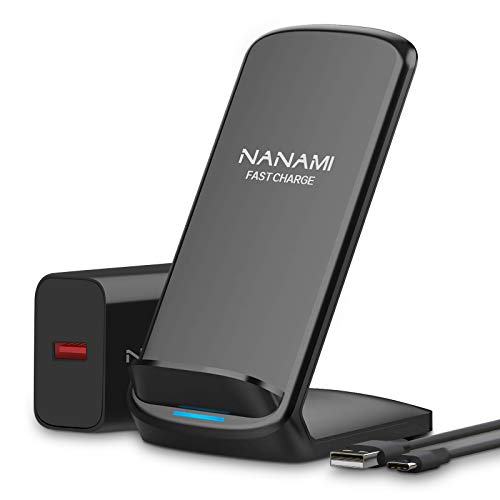 Fast Wireless Charger,NANAMI induktions ladegerät (mit Quick Charge 3.0 Adapter) für iPhone 11/XS MAX/XR/XS/X/8/8 Plus,10W Qi Induktive Ladestation Schnellladestation für Samsung Galaxy S20 S10 S9 S8