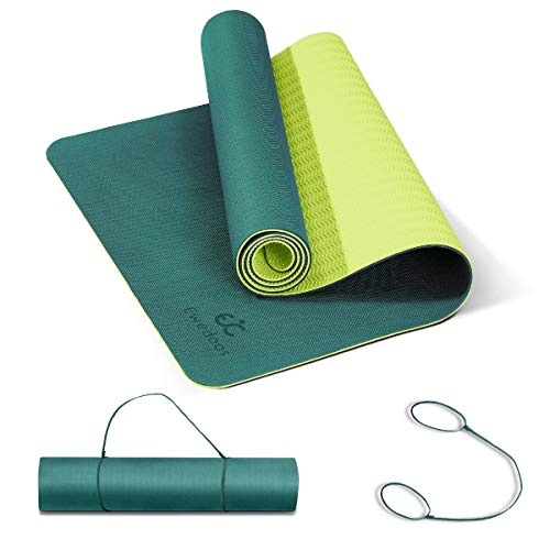 Ewedoos Yoga Mat Non Slip TPE Yoga Mats Exercise Mat Eco Friendly Workout Mat for Yoga, Pilates and Floor Exercise Thick Fitness Mat Carry Strap Included (Aqua)