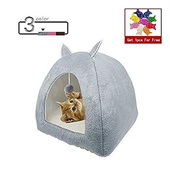ZhiTianGroup Pliable Cat Bed Location Warming Maison d'intérieur avec Cat Amovible Matelas Puppy Cage Lounger Sofa nid de Chat (Color : Brown with Ball, Size : S 28CMx28CMx32CM)
