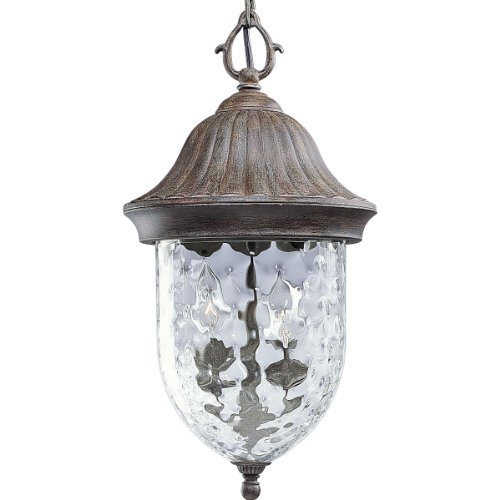 Progress Lighting P5529-87 1-Light Chain Hung Lantern with Optic Hammered Clear Glass to Complement The New Fieldstone Finish, Fieldstone