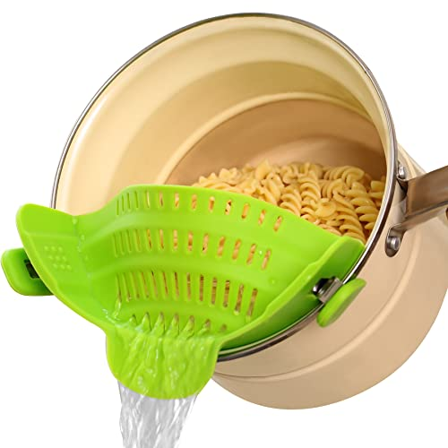 Clip on Food Strainer for Kitchen, Silicone Pasta Pans with Strainer...