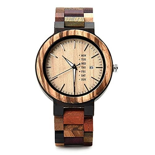 Modelos de pareja de relojes de madera Visualización de la semana del calendario de estilo europeo y americano, cuarzo deportivo, delgado y ligero, saludable respetuoso con el medio ambiente, regalo