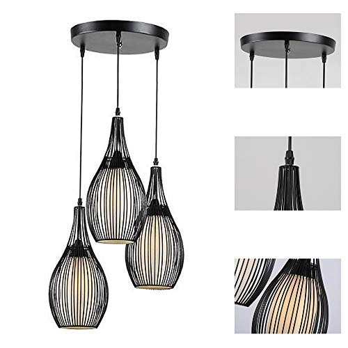 Lámpara Colgante Candelabro Negro Altura Ajustable E27 Fuente De Luz Loft Sala De Estar Lámpara Cocina Comedor Dormitorio Pasillo Colgante Iluminación De Techo