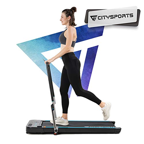 CITYSPORTS 440W Foldable Treadmill, Controllable Armrest and Remote Control, Bluetooth Built-in Speaker, Speed ​​1-8km / h Adjustable, Professional Home Treadmill