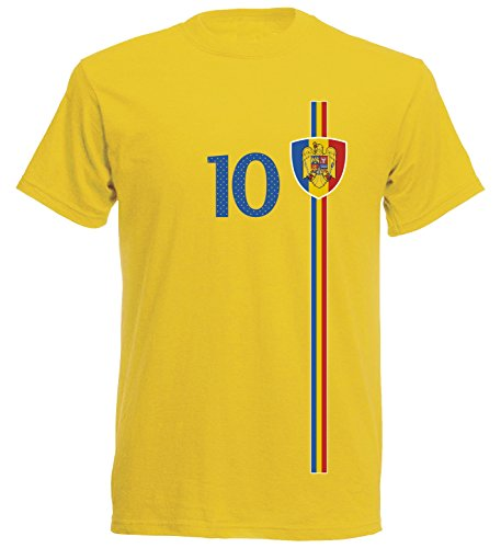 Rumänien România Herren T-Shirt Nummer 10 Trikot Fußball Mini EM 2016 T-Shirt - S M L XL XXL - gelb NC ST-1 (L)