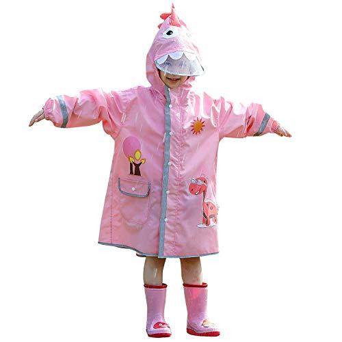 LIVACASA Regenmantel Kinder Leicht Regenponcho Unisex Wasserdicht Regenjacke Atmungsaktiv mit Tasche Outdoor Regen Overall Reflektoren mit Kapuze für Jungen Mädchen Rosa L