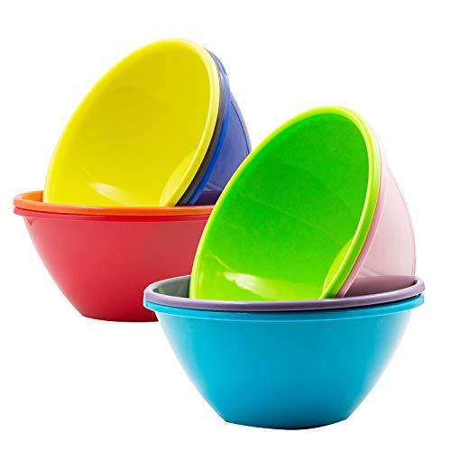 Youngever Cuencos de plástico de 32 onzas, cuencos grandes para cereales, cuencos grandes para sopas, aptos para microondas, aptos para lavavajillas, juego de 9 en 9 colores surtidos