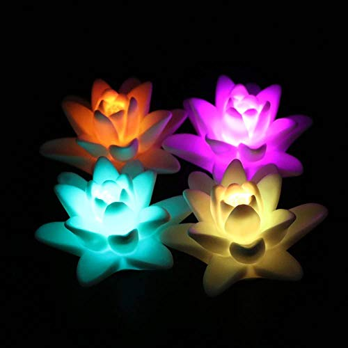 ARDUX LED Floating Candle Light, Waterproof Lily-Shape Flower Color Changing Tealight Night Light Flameless Candle with Battery-Powered (Pack of 4)