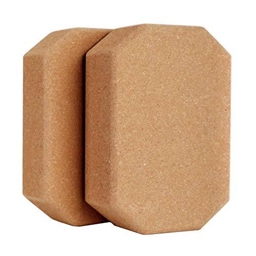 Sebasti Bloques de yoga de espuma de ladrillo de yoga de ladrillo de corcho protección del medio ambiente de danza ladrillo-octágono 2 piezas 1 vender tamaño -23x15x7.5cm material-corcho