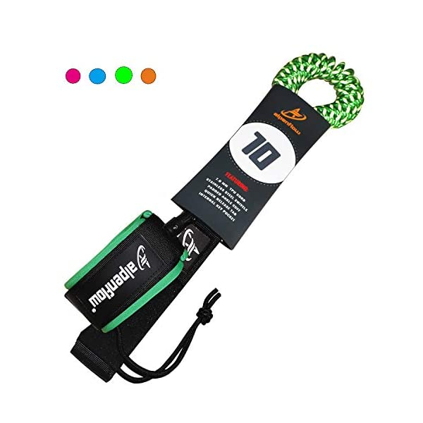 A ALPENFLOW 10' Coiled SUP Leash Stand up Paddle Board Leg Rope 10ft Paddleboard Legrope