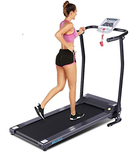ANCHEER Treadmill, Electric Treadmills for Home with LCD Monitor Walking Running Machine Equipment for Home Gym (Black)