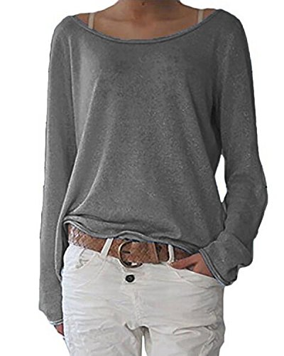 ZANZEA Damen Langarm Lose Bluse Hemd Shirt Oversize Sweatshirt Oberteil Tops Grau EU 46/Etikettgröße XL