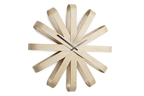 Umbra - Horloge murale design bois naturel ribbonwood