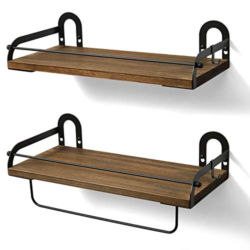 Ophanie Floating Shelves Wall Mounted Set of 2, Rustic Wood Wall Storage Shelves Organizer for Kitchen, Bathroom, 2 S-Shape Hooks Included