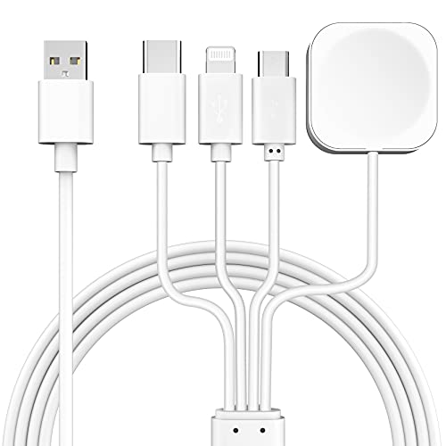 Smart Magnetic iWatch Charger, 3.93ft 4-in-1 Multifunctional Charging Cable Compatible w/iWatch Series SE/6/5/4/3/2/1&Micro USB/Type-C/Lightning Fast Charging Cord for iPhone/iPad/Airpods,etc. White.