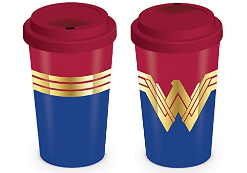 empireposter DC Comics - Wonder Woman - Emblem Travel Mug Keramik Tasse Mit Deckel Film Kino TV Action - Größe Ø9 H13,5 cm