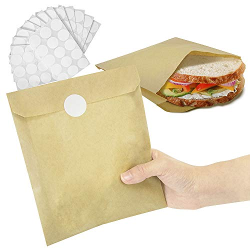 [200 Bags and 200 Stickers Pack] 8.5 x 6 Inch Kraft Wax Paper Sandwich Bags and White Round Sticker Label - Unbleached Biodegradable Deli Wrap Sheet Food Grade Grease Resistant for Cookie Bread Candy