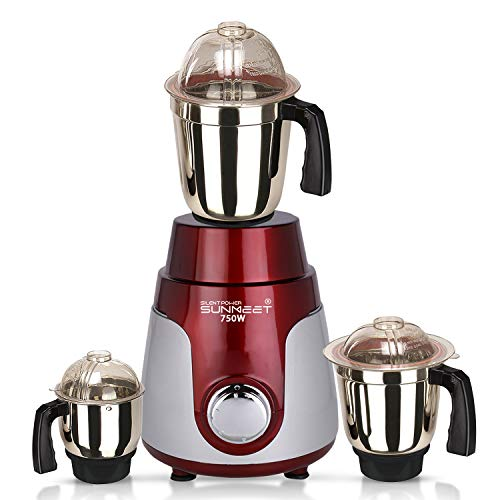 SILENTPOWERSUNMEET 750watt Mixer Grinder with 3 Stainless Steel Jar (Red Silver) MA2019 Make in India (ISI Certified) 100% Copper.