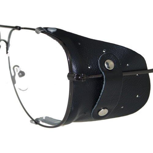 Seitenschutz aus Leder in schwarz für große Brillen   Windschutz