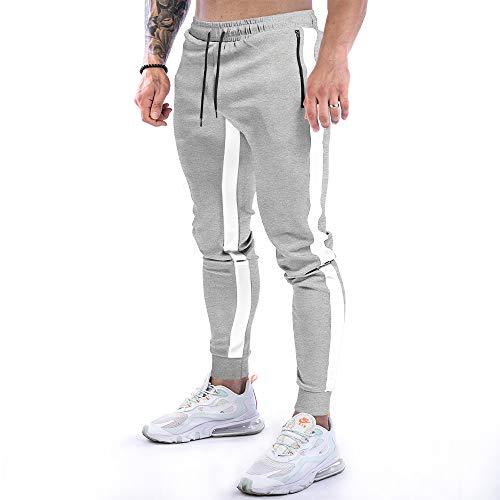 NA. Slim Fit Track Pants Men's Athletic Workout Running Pants (Grey, L)