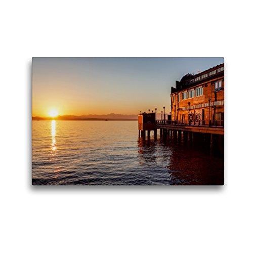 CALVENDO Premium Textil-Leinwand 45 x 30 cm Quer-Format Pier des Seattle Aquariums, Leinwanddruck von TomKli