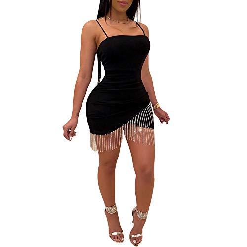 Loalirando - Vestido de tirantes para mujer, sexy y ajustado con mini vestido asimétrico, acabado con flecos, para fiesta Negro M