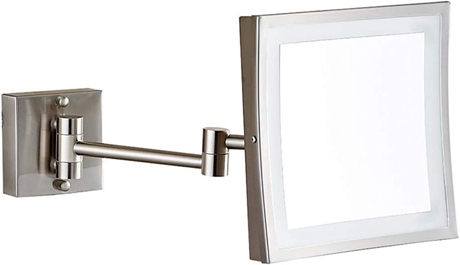 8  Led Lighted Wall Mount Makeup Mirror, 360° Swivel Folding 3X Magnification Bathroom Mirror, Rectangle
