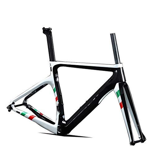 GJZhuan Route Cadre Vélo Cadre en Fibre de Carbone X10 700C Vélo de Route Léger Intégré Cadre en Fibre de Carbone (Color : White, Size : 56cm)