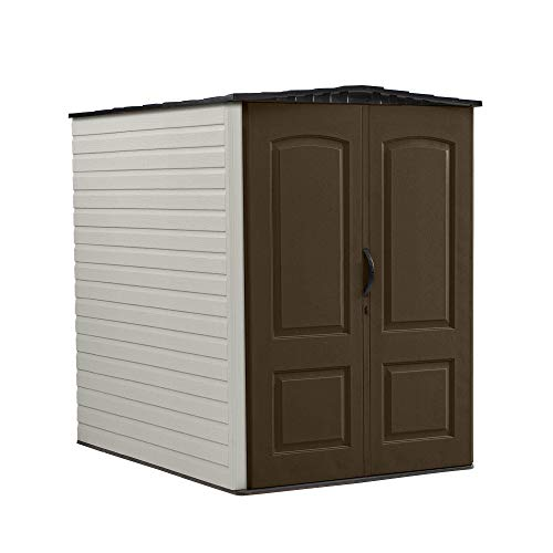 Rubbermaid 5x6 Feet Large Heavy-Duty Gardening and Tools Vertical Outdoor Utility Storage Shed, Brown