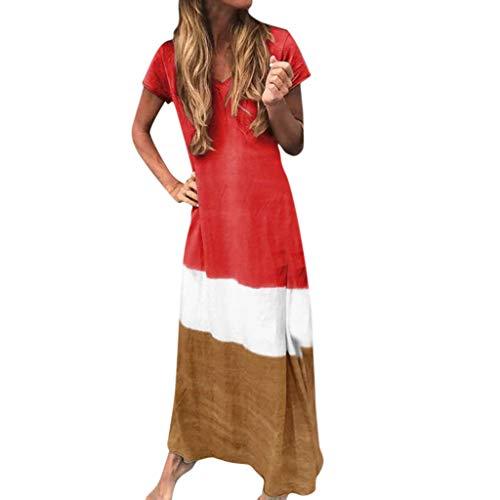 Ansenesna Kleid Damen Lang V Ausschnitt Elegant Sommerkleid Frauen Mit Ärmel Kurzarm Sommer Maxikleid (Rot,M)