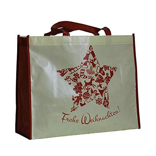1x Einkaufstasche laminiert Design Frohe Weihnachten | 40 x 32 + 15 cm | PP-Non-Woven-Tasche | Vliestasche | Stofftasche | Tragetaschen | Tüten | Weihnachten