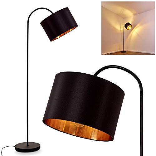 Lámpara de pie Pattburg de metal en negro, 1 lámpara de pie con pantalla de tela en negro/oro, 1 bombilla E27 máx. 60 W, altura máx. 202 cm (ajustable), interruptor de pie en el cable