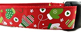 Christmas Dog Collar, Caninedesign, Snowflakes, Red, Green, 1 inch Wide, Adjustable, Nylon, Medium and Large