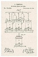 醸造ビールとエールルイパスツール公式特許図アートポスター、ヨーロッパとアメリカのスタイルのポスター、大きさ:30x21cm