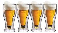 maxxo set bicchieri da birra 4x 350 ml tazzine a doppia parete con isolamento termico di vetro borosilicato fatto a mano adatti per la lavastoviglie