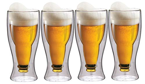 Maxxo Tazas de Cerveza de Doble Pared 4X 350 ml Vasos de Vidrio Térmico de Borosilicato Hecho a Mano con Efecto Flotante de Botella Invertida