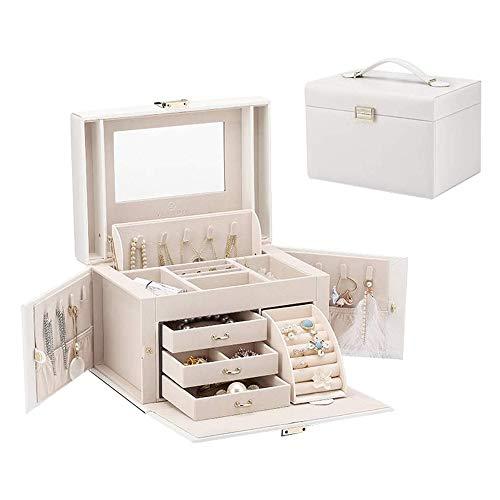 HnF Joyero, Caja de Almacenamiento de joyería de Gran Capacidad, con 3 cajones, Utilizado para...