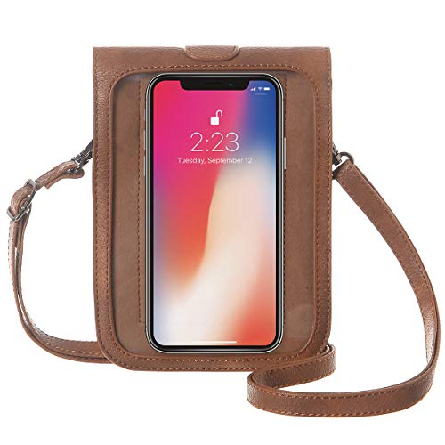 MINICAT Touch Screen Cell Phone Purse Small Crossbody Bags for Women with Clear Window(Touch Screen-Brown) Arizona