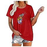 Camiseta de mujer con estampado de plumas y flores, túnica, camisas, tops, tops, camisetas, camisetas, camisetas, camisetas, camisetas, blusas, túnicas. rojo XL