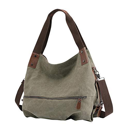 Gindoly Damen Canvas Handtasche Klein Vintage Shopper Schultertasche Henkeltasche Hobo Tasche Beuteltasche EINWEG(Grün)